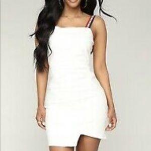 FASHION NOVA white dress w/ red,white&blue straps